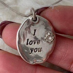 Brighton I Love You Silver Necklace w/ Crystal